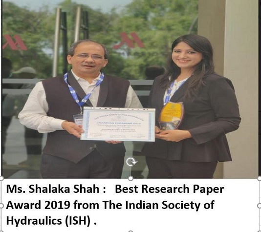 Ms. Shalaka Shah Best Research Paper from ISH